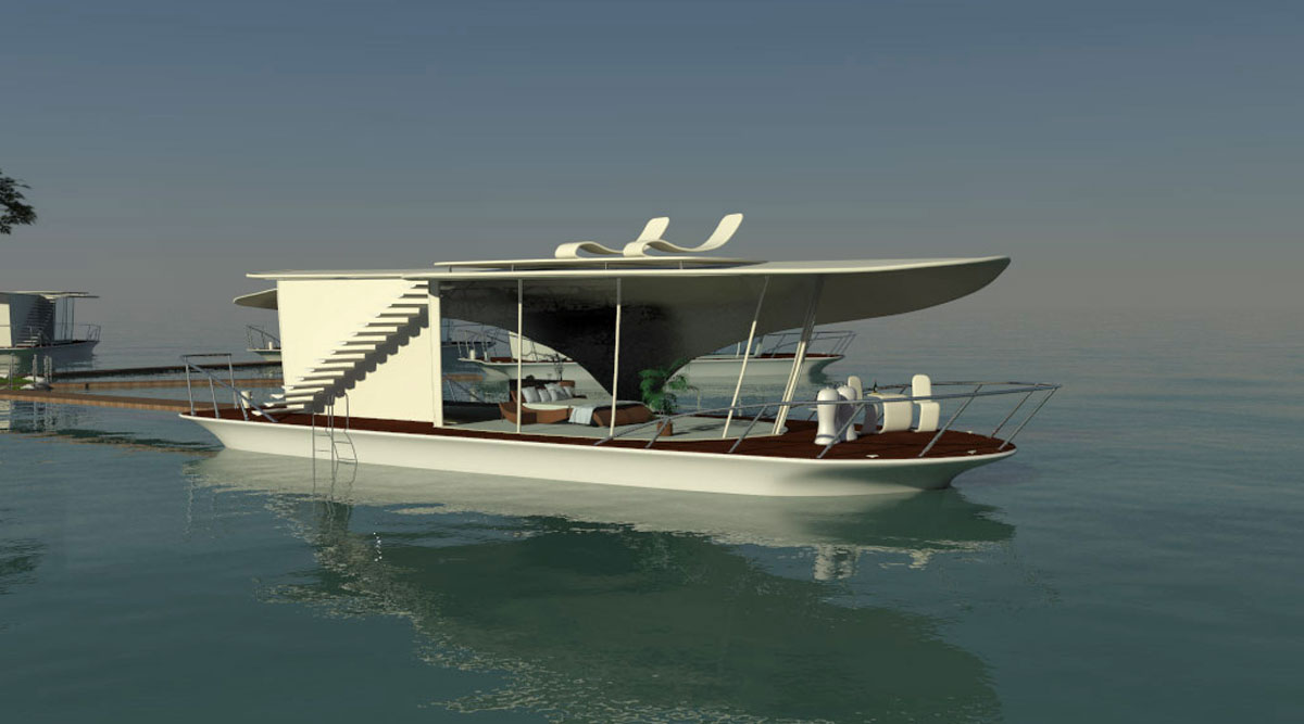 6 3D visualisierung floating homes hausboot schwimmendes hotel berlin
